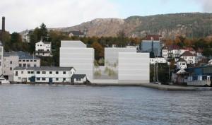 Illustrasjon på planlagte bygninger hentet fra forslaget til reguleringsplan.